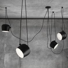 Buy Flos Aim Small Pendant Light - Black online with Houseology's Price Promise. Full Flos collection with UK & International shipping. Black Pendant Light, Multi Light Pendant, Pendant Light Fixtures, Drum Pendant, Kitchen Lighting Fixtures, Blitz Design, Cheap Pendant Lights, Luminaire Design, Black Lamps