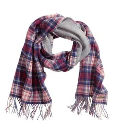 Premium-quality reversible scarf with soft wool, short fringe, and red & blue plaid pattern. | H&M Accessories