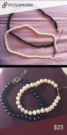 Pearl bracelet & earring set Four pieces total. Genuine freshwater pearls knotted in between. Jewelry