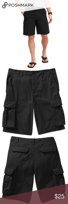 Faded Glory Men's Pocket Cargo Shorts Black Faded glory men's large pocket cargo shorts black grey khaki 100% cotton choose color and size at checkoutstart your casual day off on the right foot with the faded glory men's cargo shorts.These faded glory cargo shorts are comfortable and convenient for a day being spent on the go. Faded Glory Shorts Cargo