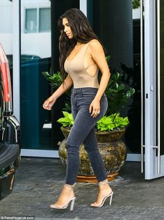 Do it in distressed denim like Kim with her J Brand jeans #DailyMail  Click 'Visit' to buy now