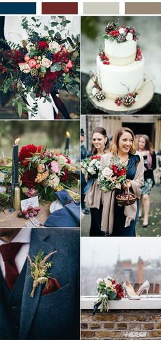 navy and wine winter wedding colors