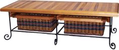 Mahogany 19x52 Coffee Table/Bench with a wrought iron frame and two basket drawers. You can choose colors, type of wood, and the color of the wrought iron. Handcrafted in the USA!
