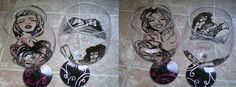 American bombshell hand painted wine glasses