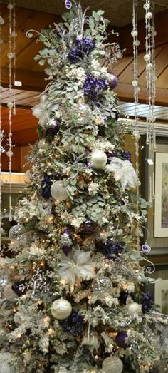 Decorating Ideas Elegant White Chirstmas Tree Decoration With Lux And Purple Floral Ornaments