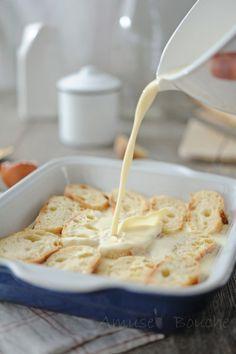 Pain perdu au four 400ml lait 2 œufs 20g sucre vanillé 1 pincée de sel imbiber 30min de chaque côté répartir 2 cas sucre roux et 30g de beurre et 30min au four 180°