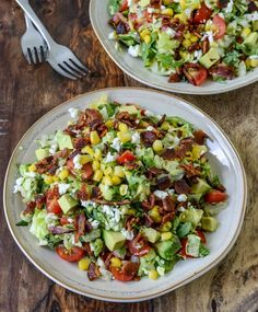 Chopped BLT salad. Butter lettuce and arugula with bacon, grape tomatoes, avocado, corn and feta cheese, tossed with a simple lime juice/olive oil dressing. This is my new favorite salad. The lime dressing is great, very flavorful, you dont need to put a lot on.