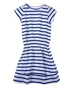 Love this Twilight & White Stripe Cap-Sleeve Dress - Girls on #zulily…