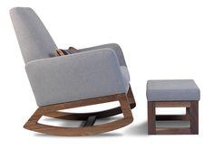 Monte Design Modern Nursery Furniture - modern upholstered joya rocker and ottoman - heather grey and walnut base shown.