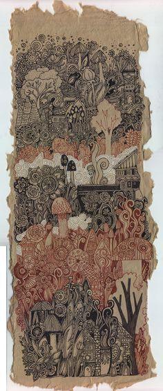 Little Village on The Hill Drawing by Megan Noel by meinoel