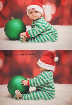 Baby Christmas Bokeh pictures Santa hat Christmas bulb by Mia DeMeo photography