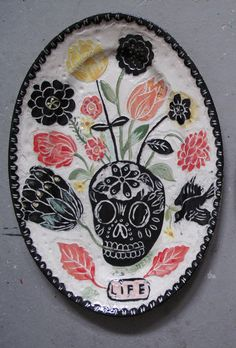 """Skulls & Flowers"" Handpainted & engraved ceramic by Nathalie Lete (molded by Astier de Vilatte) <3"