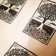 """615 Likes, 11 Comments - taylored prints (@taylored_prints) on Instagram: """"running out some more 'tree reflections'. #etsy #printmaking #art #linocut #linoprint #reflections…"""""""