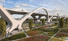 Advancing Sustainability Symposium 2012 : Architect Wil Carson walks through the creative design process of competition winning project, Sixth Street Viaduct Bridge in Los Angeles. Landscape Architecture, Landscape Design, Architecture Design, Bridges Architecture, Architecture Diagrams, Architecture Portfolio, Urban Landscape, Contemporary Landscape, Contemporary Design