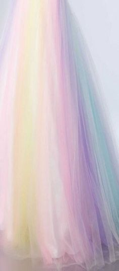 Pastel Tulle rainbow would be pretty curtains Soft Colors, Pastel Colors, Colours, Pastel Color Dress, Pastel Shades, Pastel Pink, Imagenes Color Pastel, Rainbow Aesthetic, Aesthetic Pastel