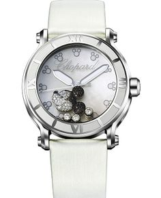 Chopard Happy Sport Diamond Mickey Mouse Mother Of Pearl Dial White Satin Ladies Watch 288524-3004