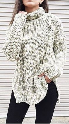 #winter #fashion / oversized turtleneck knit