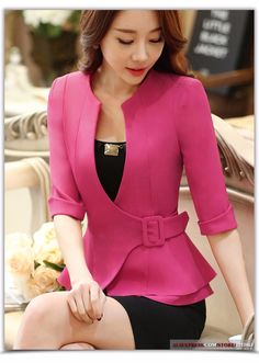 Fashion work wear jacket women foldable half sleeves v-neck coat candy color feminino blazer ladies vogue casual office top Blazers For Women, Jackets For Women, Clothes For Women, African Fashion, Korean Fashion, Business Fashion, Blouse Designs, Mantel, Work Wear