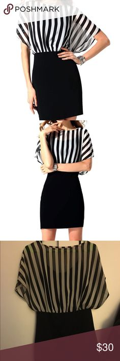 BLACK AND WHITE STRIPE DRESS Only worn twice. I apologize my room lighting is bad, the colors ARE black and white, not black and grey. Form fitting black spaghetti strap dress with black/white stripe overlay on top. Super comfortable, stylish for casual day wear or even great for work. Size S Dresses