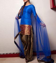 Peacock Blue & Golden Silk Crepe & Brocade Salwar Suit
