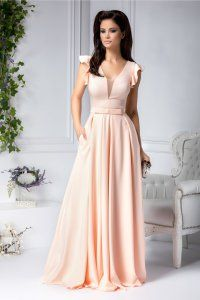 Rochie lunga de ocazie somon cu pliuri la bust Renata Bridesmaid Dresses, Prom Dresses, Formal Dresses, Wedding Dresses, Gowns, Outfits, Sport, Design, Fashion