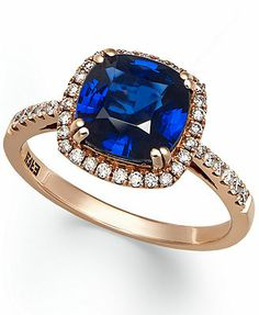 So pretty, I want this!   Velvet Bleu by EFFY 14k Rose Gold Diffused Sapphire (2-1/2 ct. t.w.) and Diamond (1/4 ct. t.w.) Square Ring