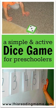 A Simple and Active Dice Game for Preschoolers ~ help kids learn how to recognize the dot patterns on dice with this ACTIVE game {FREE printable included} - This Reading Mama Number Games For Toddlers, Number Games Preschool, Fun Math Games, Counting Activities, Dice Games, Learning Games, Kids Learning, Preschool Ideas, Articulation Activities