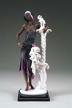 Giuseppe Armani Gallery Featuring New and Retired Armani Figurines - Denim Qrtok Porcelain Dolls For Sale, Porcelain Dolls Value, Porcelain Jewelry, Porcelain Tiles, African American Figurines, African American Art, Black Figurines, Armani Collection, Black Artwork