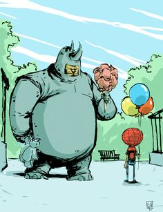Skottie Young - Rhino and Spider-Man