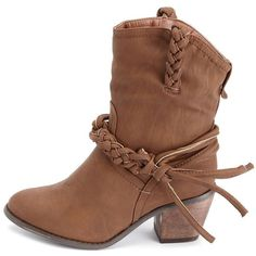 Braided Strap Cowboy Bootie ($43) ❤ liked on Polyvore featuring shoes, boots, ankle booties, sapatos, botas, heels, ankle boots, tan, ankle cowgirl boots and heeled ankle boots