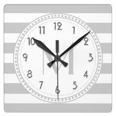Lt Gray   White Stripes Pattern Monogram Square Wall Clock