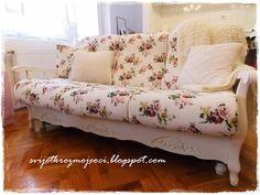 Diy, Shabby Chic, Shabby Chic Sofa, Sofa Makeover, Vintage Sofa, Floral
