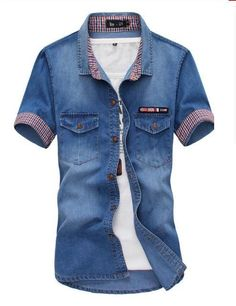 Mstyle Mens Slim Suede Splicing Chest Pockets Long Sleeve Cotton Button Up Denim Work Western Shirt