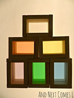 DIY Color blocks on the light table from And Next Comes L - it only cost her $3 to make these!!!