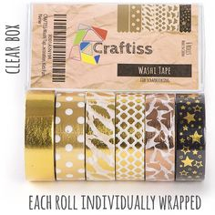 Amazon.com: Gold Washi Tape Set 6 rolls, Decorative Craft Tapes Kit of Cute Patterns for Scrapbooking, DIY Easter Projects: Office Products