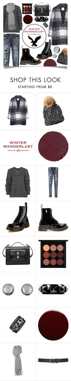 """Winter Wanderlust with American Eagle: Contest Entry"" by ittie-kittie on Polyvore featuring MANGO, American Eagle Outfitters, Kevyn Aucoin, Belstaff, Dr. Martens, Balenciaga, MAC Cosmetics, Kenneth Jay Lane, Valentino and Waterford"