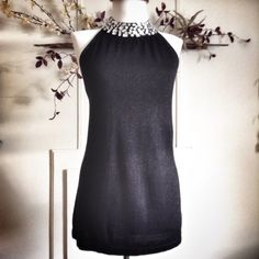 Joseph A Top with Gem Collar Dress up or casual black top with hints of silver sparkle threads and gem collar  Joseph A Tops Blouses