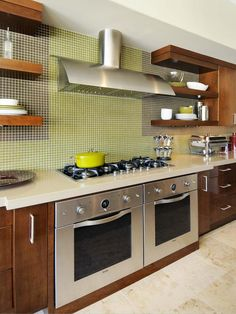 Modern Glass Tile The Soft Green Glass Tile Backsplash In This Contemporary  Kitchen Serves As A