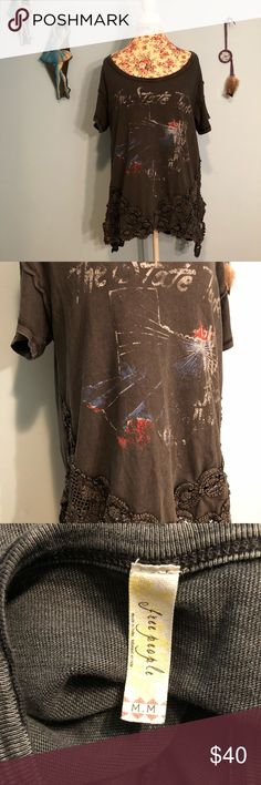 Free People State Tour Crochet Detail Top medium Gently worn. In good condition, no flaws or damages. Free People Tops Tees - Short Sleeve