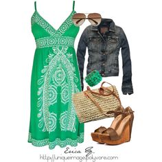 Green Tribal Print Dress, created by uniqueimage