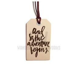 Travel Quote Leather Luggage Tag  And So by WanderlustWoodworks