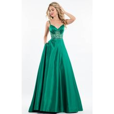 Rachel Allan 7531 Prom Dress 2017 Long  Sleeveless ($398) ❤ liked on Polyvore featuring dresses, gowns, emerald, formal dresses, white formal gowns, formal evening gowns, long evening gowns, prom gowns and long gown