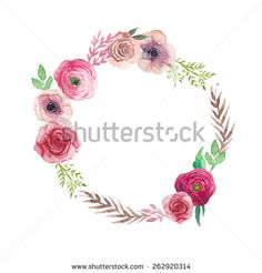 Watercolor vintage flowers wreath. Hand painted round frame with posy roses, ranunculus, anemones, leaves and floral elements. Vector design