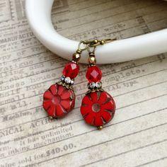 Red Earrings, Ruby Earrings, Ruby Red Earrings, Bronze Earrings, Czech Glass Beads, Antique Gold Earrings, Womens Earrings, Gifts for Her by SmockandStone on Etsy