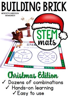 Christmas STEM Center - Easy to set up in your classroom, homeschool, or makerspace. Dozens of engineering design possibilities in a festive Christmas theme. | Meredith Anderson STEM Resources