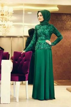 Elegant Emerald Green Long Sleeve Arabic Muslim Evening Dresses Hijab Floor Length Lace Chiffon Formal Gowns 2016 New Arrival Islamic Fashion, Muslim Fashion, Modest Fashion, Hijab Fashion, Kebaya Hijab, Kebaya Dress, Hijab Dress, Dress Muslimah, Muslim Evening Dresses