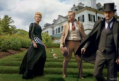 STRONG STANCE - Although accustomed to battles of the drawing-room—not battlefield—variety, Wharton shared with her friend Theodore Roosevelt (actor James Corden, center) a personal vigor, self-discipline, and fighting spirit that seemed uniquely American. Balenciaga by Nicolas Ghesquière canvas jacket with leather sleeves and skirt, made for Vogue. OnCorden and Eugenides: Polo Ralph Lauren suits.