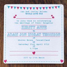 Pink & blue wedding invitation