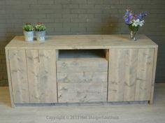 Steigerhout dressoir kast old look op maat gemaakt en verkrijgbaar bij www.hetsteigerhouthuis.nl Buffet, New Homes, Cabinet, Diy, House, Storage, Inspiration, Furniture, Google