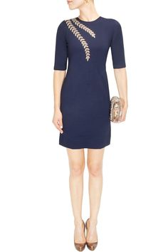 Blue and gold zardozi embroidered dress available only at Pernia's Pop Up Shop.